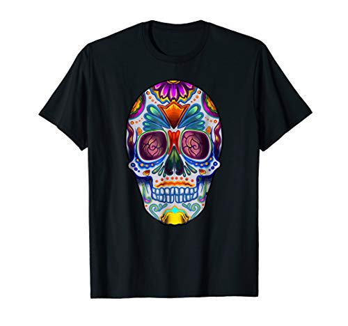 Mens Bright Sugar Skull Halloween Shirt Day of the Dead T-Shirt Large Black ()