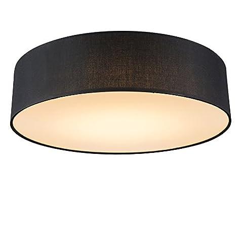 QAZQA Modern Deckenleuchte Deckenlampe Lampe Leuchte Drum Mit Schirm LED 40 Schwarz