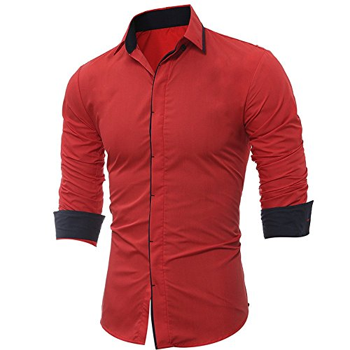 Men's Shirt -Clearance Sale!! Farjing Men Shirt Fashion Solid Color Stripe Male Casual Long Sleeve Shirt(XL,Red) by Farjing