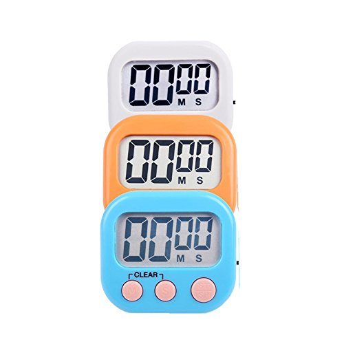 3 Pack Digital Kitchen Timer Magnetic Support Cooking Grill Timekeeping Seconds