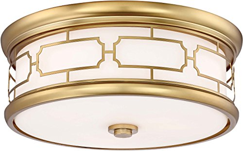 Minka Lavery Flush Mount Ceiling Light 826-249 Low Profile Fixture, 3-Light 180 Watts, Liberty Gold