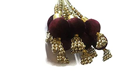 Wine Color Big Round Tassel sound beads Latkan Beautiful Dress Lehanga Velvet Blouse Tassels curtain latkans