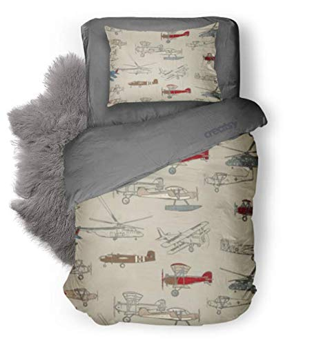 Toddler Bedding Set in Vintage Airplane Flight - 3 Piece Toddler Big Boy Bedding - Handmade in America