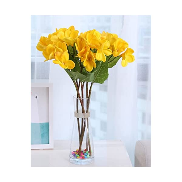 Skyseen 3PCS PU Real Touch Lifelike Artificial Plumeria Frangipani Flower Bouquets Wedding Home Party Decoration (Yellow)