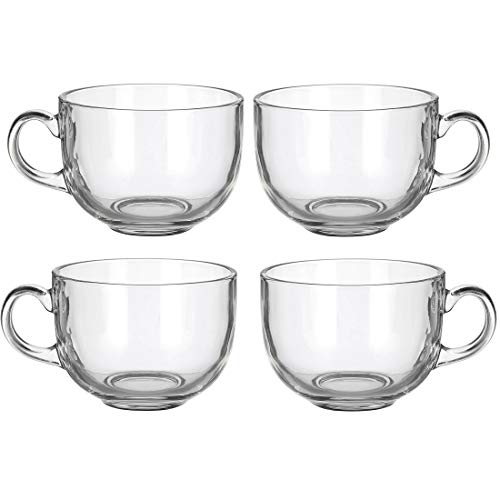 Set of 4 Large 16oz Glass Wide Mouth Coffee Mug- Dishwasher & Microwave Safe -
