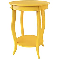 Powell Furniture Round Table with Shelf, Yellow
