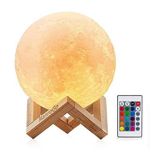Lampara Luna 3D, ManroGo 15CM Control Remoto y Control Tactil 16 Colores RGB Brillo Regulable Recargable USB Luz Nocturna Luna LED, Decorativa para Dormitorio Salon, Regalo para Mujeres y Ninos