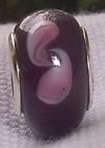Blazers Jewelry 1985 Purple Lavender Pink Swirl Pattern Glass Bead for Silver European Charm Bracelet ()