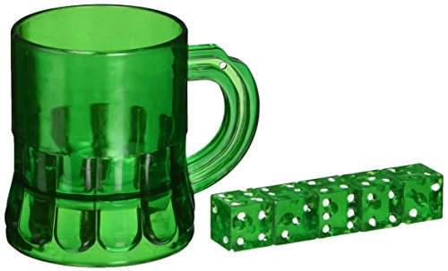 St Pat's Mug Shot w/Dice (Includes: Mug & 5 Dice) Party Accessory  (1 count) (6/Pkg)