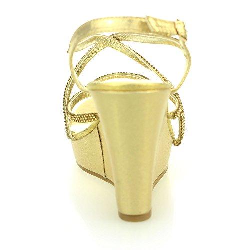 Mujer Señoras noche casual cómodo tacón de cuña diamnate sandalia zapatos tamaño (Oro, Negro, Plata) Oro