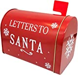 ALEF Christmas/Holiday Letters to Santa Decorative Tin Mailbox (Red)