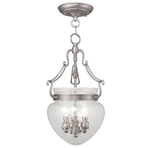 Livex Lighting 5041-91 Duchess 3-Light Convertible Hanging Lantern/Ceiling Mount, Brushed Nickel - Nickel Lantern Pendant