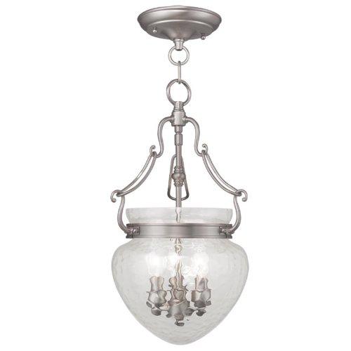 Livex Lighting 5041-91 Duchess 3-Light Convertible Hanging Lantern/Ceiling Mount, Brushed Nickel