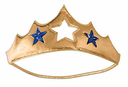 Adult Gold Lamé Soft Superhero Tiara with Blue Star Faux Gems
