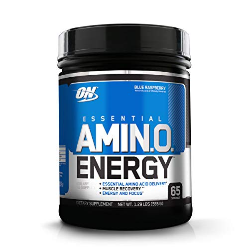 Optimum Nutrition Amino Energy - Pre Workout with Green Tea, BCAA, Amino Acids, Keto Friendly, Green Coffee Extract, Energy Powder - Blue Raspberry, 65 Servings