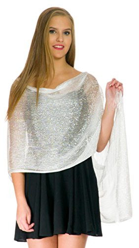Shawls and Wraps for Evening Dresses, Wedding Shawl Wrap Fringes Scarf for Women White Metallic Petal Rose]()