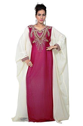 BEDI'S UAE Style Women's Farasha Maxi Arabic Islamic Muslim Dress Kaftan Long Dress - One Size (KAF-2933) Hot Pink