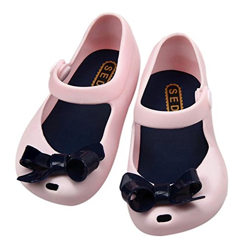 Simayixx Baby Girl Jelly Silicon Soft Sole Bowknot Mary Jane Flat Sandals (1.5-2.5Y, Pink) (25, Pink) ()