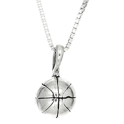Sterling Silver Oxidized Small Basketball Charm with Box Chain Necklace (18 Inches)