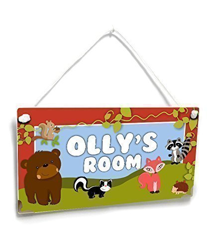 Personalized Forest Friends Themed Kids Name Door Sign Room Decor