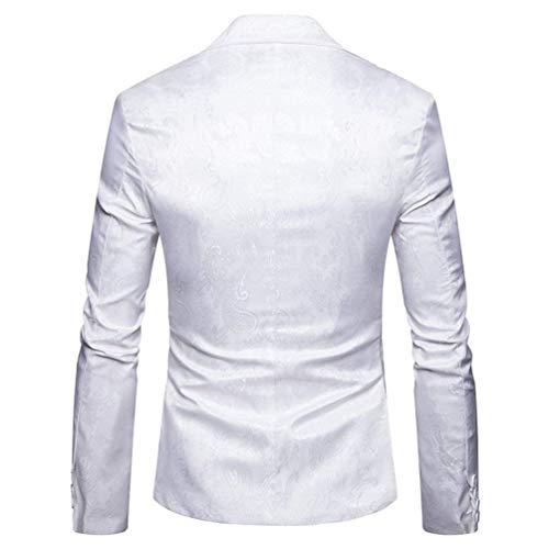 Fit Paisley Bianca In Moderna Da Elegante Blazer Un Bottone Jacquard Slim Uomo Giacca Casual A Uomo Paillettes ZAOFwwq