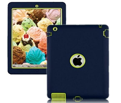 Navy Blue + Fluorescent Green ipad Case, Rugged Shockproof Silicone Protective Case Cover For ipad 2nd , 3rd , 4th Generation Model : A1397 , A1416 , A1395 , A1396, A1403 , A1458 , A1460 , A1430