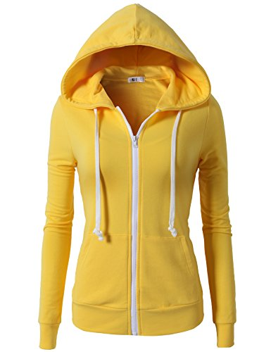 H2H Womens Solid Slim Fit Zip Up All Season Hoodie Yellow US M/Asia M (CWOHOL020)