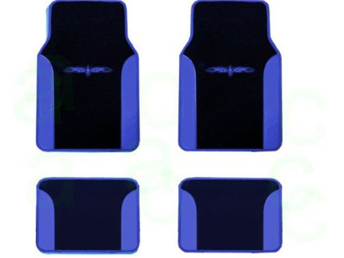 Unique Imports Two Tone Synthetic Leather Black & Blue Superior 4pc Universal Floor Mat Set for ()
