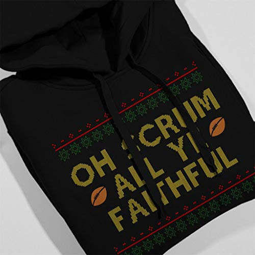 Ye Black Hooded Rugby All Faithful Women's Scrum Sweatshirt Christmas Oh Coto7 pR4XS