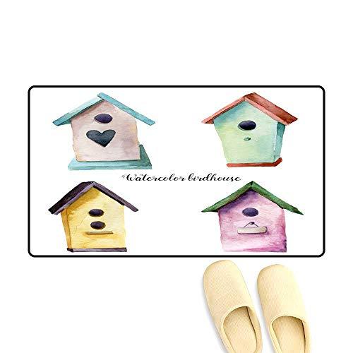Antiskid Doormat Watercolor Birdhouse Set Han painte Nesting Box Isolate on White backgroun for Design Print Fabric ()