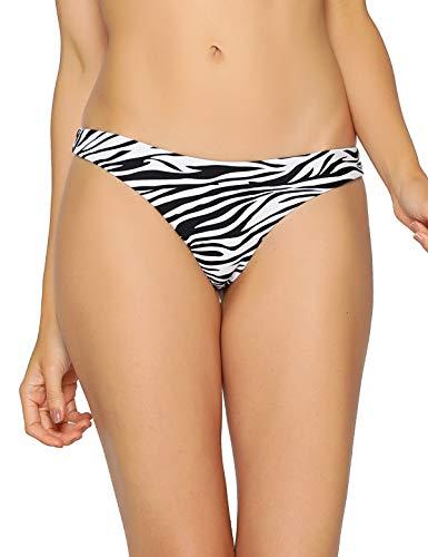 RELLECIGA Women's Zebra Print Super Cheeky Brazilian Cut Bikini Bottom Size Large