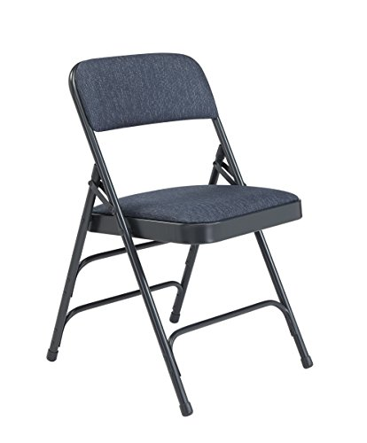 - National Public Seating 2300 Series Steel Frame Upholstered Premium Fabric Seat and Back Folding Chair with Triple Brace, 480 lbs Capacity, Imperial Blue/Char-Blue (Carton of 4)