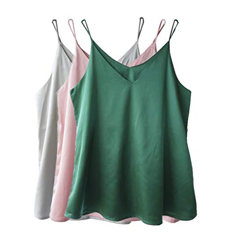 - Wantschun Womens Silk Satin Camisole Cami Plain Strappy Vest Top T-Shirt Blouse Tank Shirt V-Neck Spaghetti Strap US Size L;Green+Pink+White