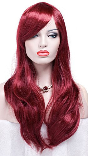 Big Red Hair Costume (WELLKAGE 28 inches Long Big Wavy Cosplay Costume Womens Hair Wigs (Wine red))