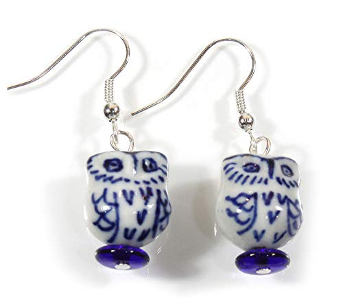 """Sophia"" Little Owl Blue and White Porcelain Earrings, 1.5 Inches"