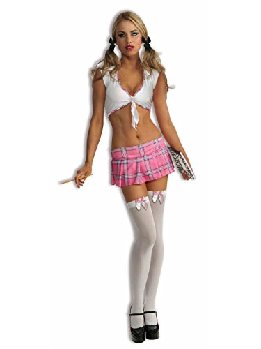 Forum Novelties Women's Sexy Pink School Girl Costume, Pink Plaid, -
