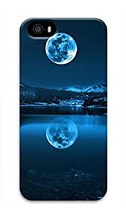 3D PC Case Cover for iPhone 5 Custom Hard Shell Skin for iPhone 5 With Nature Image- Moon ands reflection