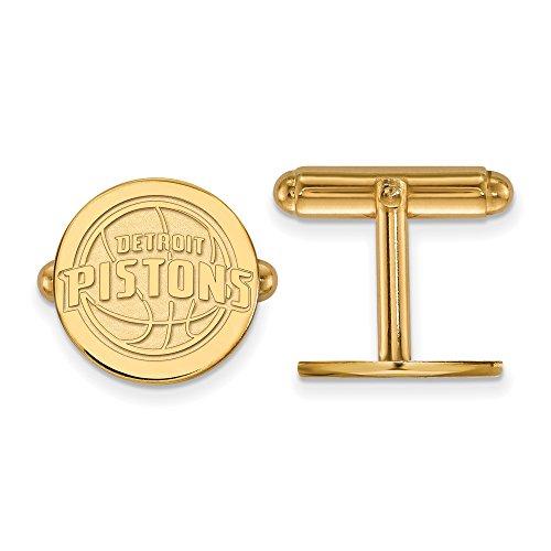 NBA Detroit Pistons Cuff Links in 14K Yellow Gold by LogoArt
