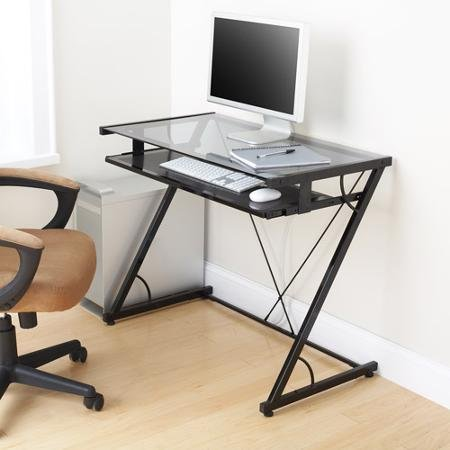 Space-saver Computer Desk (Black) with Tempered Smoke Glass Top and Z-shaped Metal Support - Features Pull-out Tray for Keyboard and Mouse (Task Chair Is Not Included)