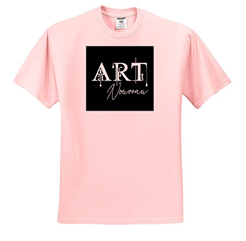 (Alexis Design - Art - Stunning Stylish White Text Art Nouveau on Black Background - T-Shirts - Toddler Light-Pink-T-Shirt (2T) (ts_286483_47))