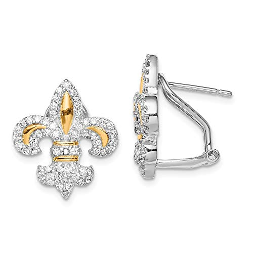 925 Sterling Silver Vermeil Fleur De Lis Cubic Zirconia Cz Omega Back Earrings Drop Dangle Fine Jewelry Gifts For Women For Her (Designer De Lis Earrings Fleur)