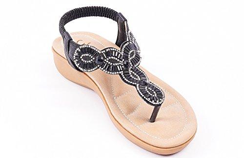 Roiii Womens Ladies Diamante Jelly Sandals Summer Beach FLIP Flops Toe Post Shoes Size V Black a3VLEw4