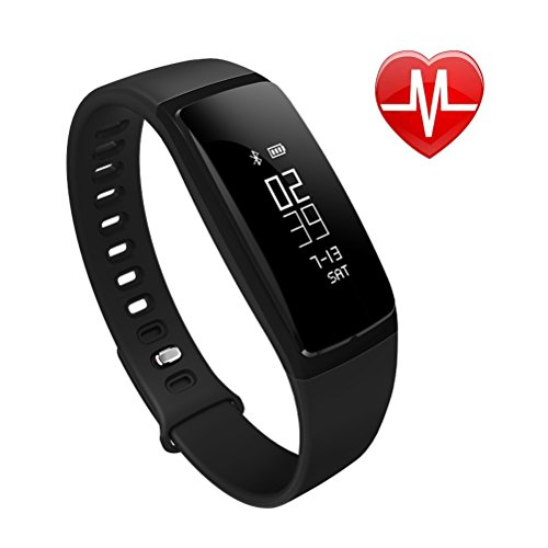 EletePro Fitness Tracker, Smart Watch Wristband Heart Rate Monitor, Blood Press Monitor, OLED Pedometer Bluetooth 4.0 for Outdoor Running Walking For iOS Android Smart Phone (Black)