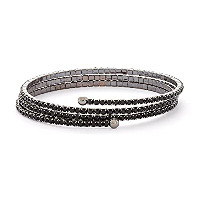 cheap Black Rhodium Plated Triple Wrap Flex Bangle with Color Crystals, 4 Color Options for cheap