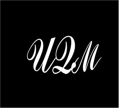 3  White Monogram 3 Letters Uqm Initials Script Style Vinyl Decal Great Size For Cups Or Use On Any Smooth Surface
