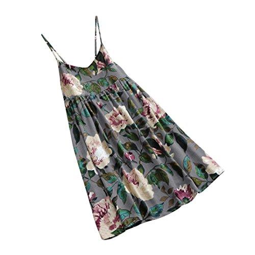 XILALU Women Summer Plus Size Floral Print Party Sleeveless Spaghetti Swing Vest Camis Beach Casual Mini Dress (XL, (Short Smock)