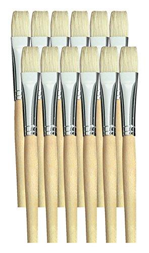 School Smart White Bristle Short Handle Paint Brush, 1/2 inch, Pack of 12 by School Smart