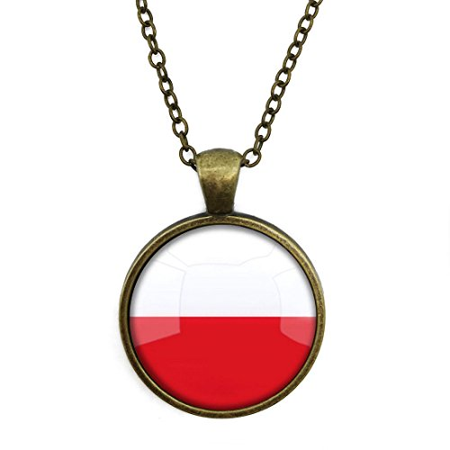 Crystal Necklace The Republic Of Poland National Flag jewelry pendant Bronze Charm by Pretty Lee (Crystal Pendant Poland)