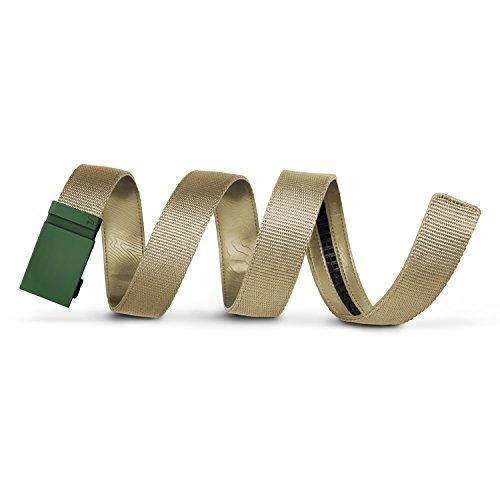 (Mission Belt Men's Ratchet Belt - Storm - Matte Green Buckle/Tan Nylon Strap, Custom (up to 56))