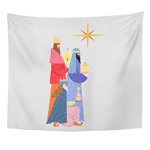 Emvency Tapestry Wall Hanging King Wiseman Christmas Magi Bethlehem Birth Celebrate Celebration Family 50